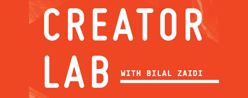 """Orange background image with the name of the podcast, """"Creator Lab,"""" at the center"""