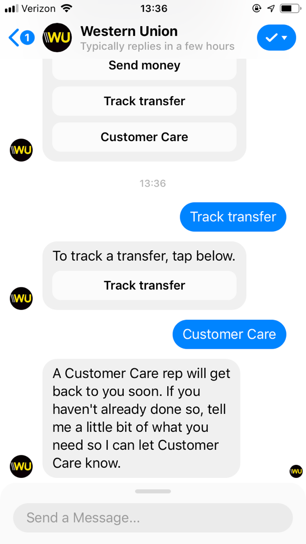 popular chatbots western union bot