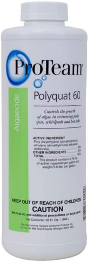 a white bottle of ProTeam Polyquat algaecide for swimming pools