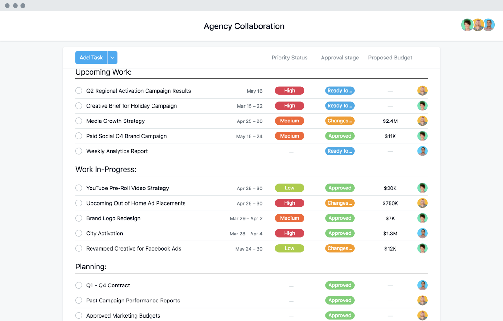 a screenshot of an agency collaboration project in asana