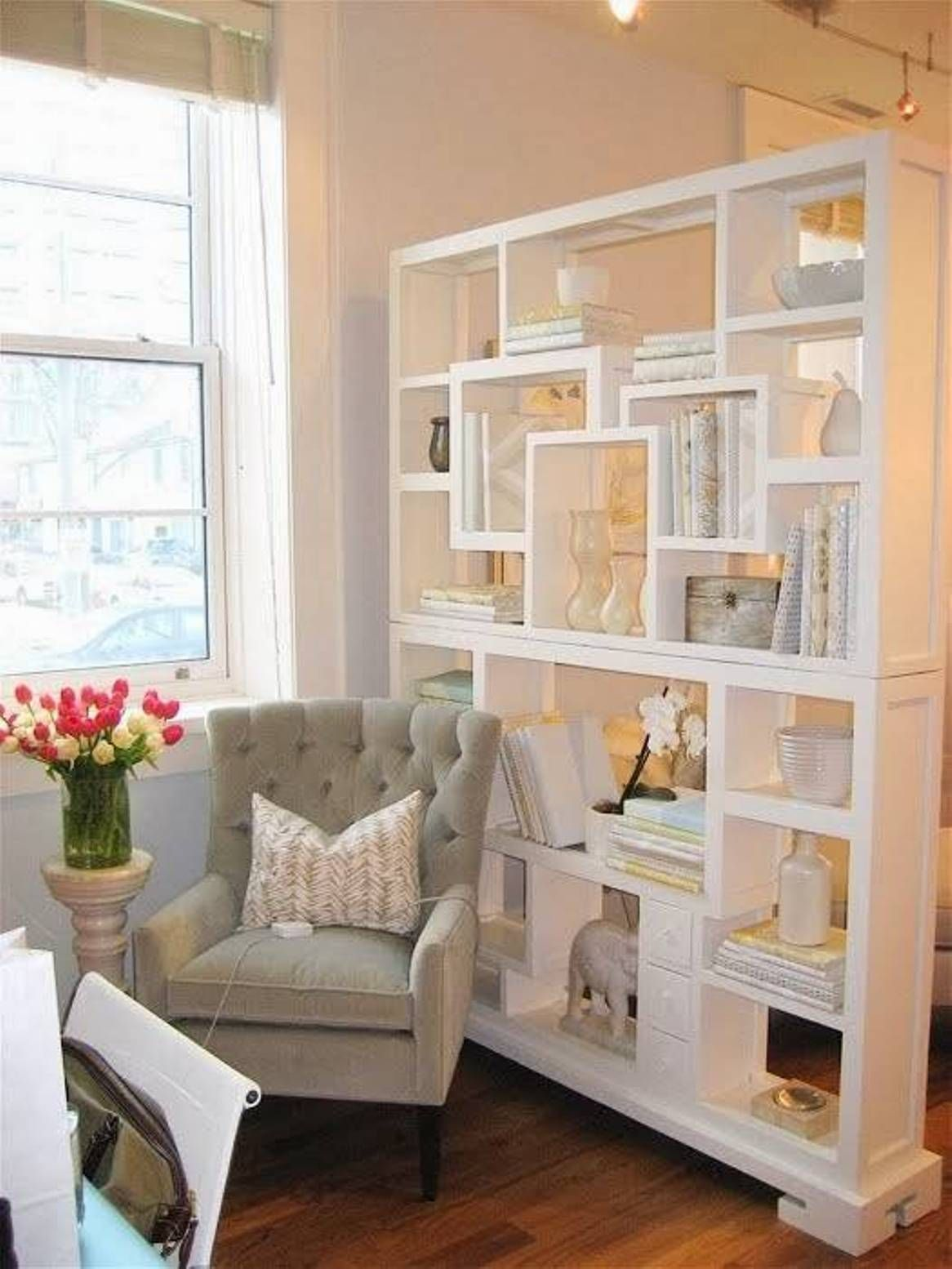 Create Desired Look With Wooden Slats And Bookshelf