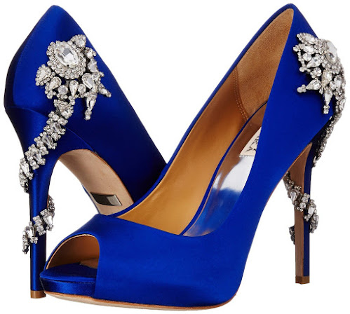 Wedding Color Schemes For Fall - Badgley Mischka women's royal dress pump - bling open-toe shoes - something blue - Wedding Soiree Blog by K'Mich, Philadelphia's premier resource for wedding planning and inspiration - badgleymischka