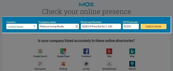 Moz Local Citation Search For Platinum Living Realty