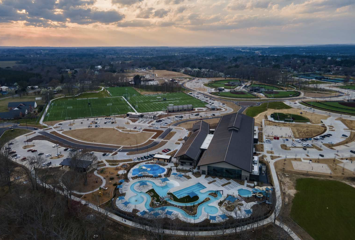 Sand Mountain Park campground from aerial view with pools.