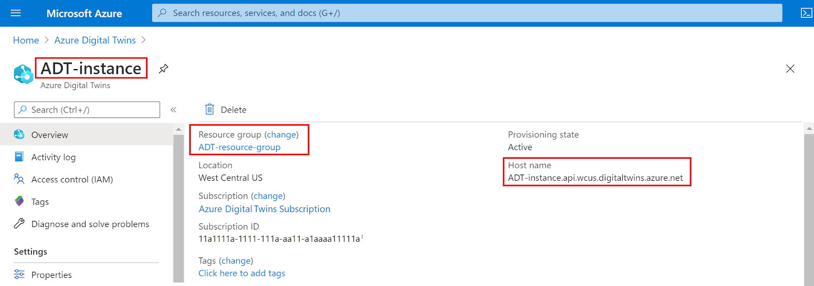 Highlighting the important values from the instance's Overview page