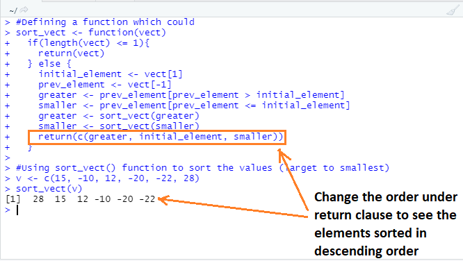 This image shows how to arrange the vector elements in descending order by tweaking the return clause in R programming.