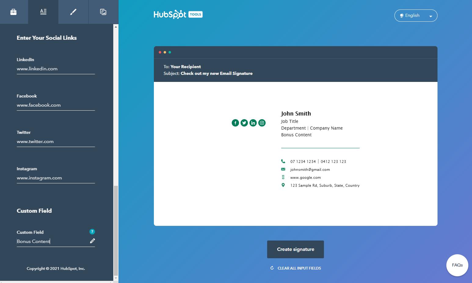 Hubspot email generator: add social links