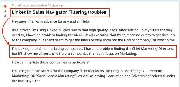 problème de filtre sales navigator