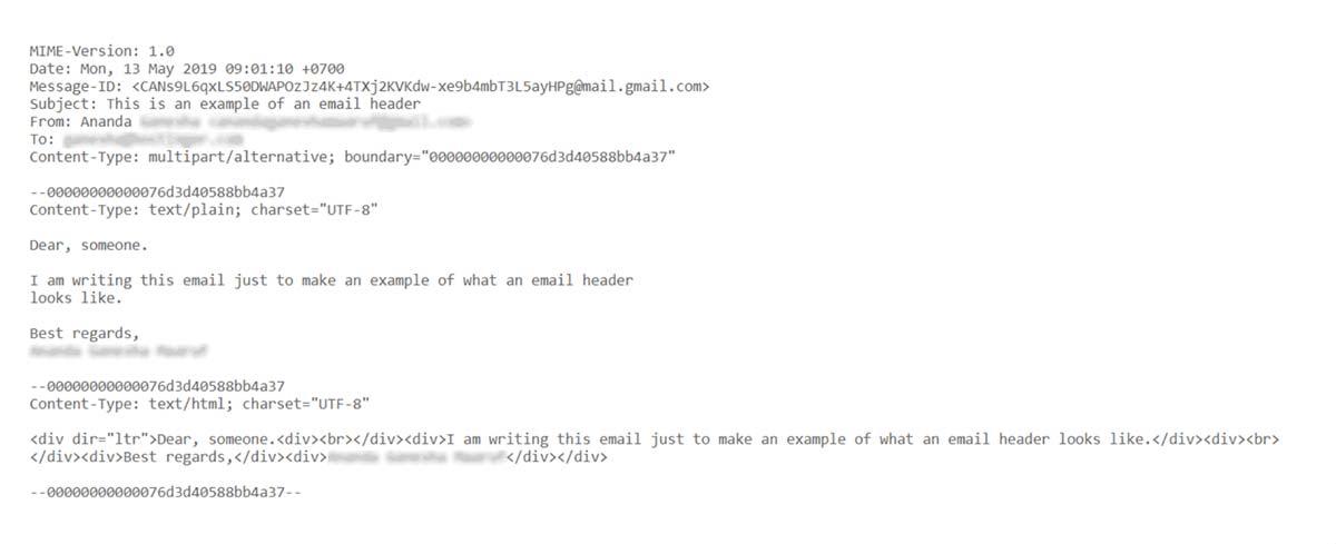 Exemplo de cabeçalho de email contendo códigos-fontes que exibem diversas informações sobre a mensagem