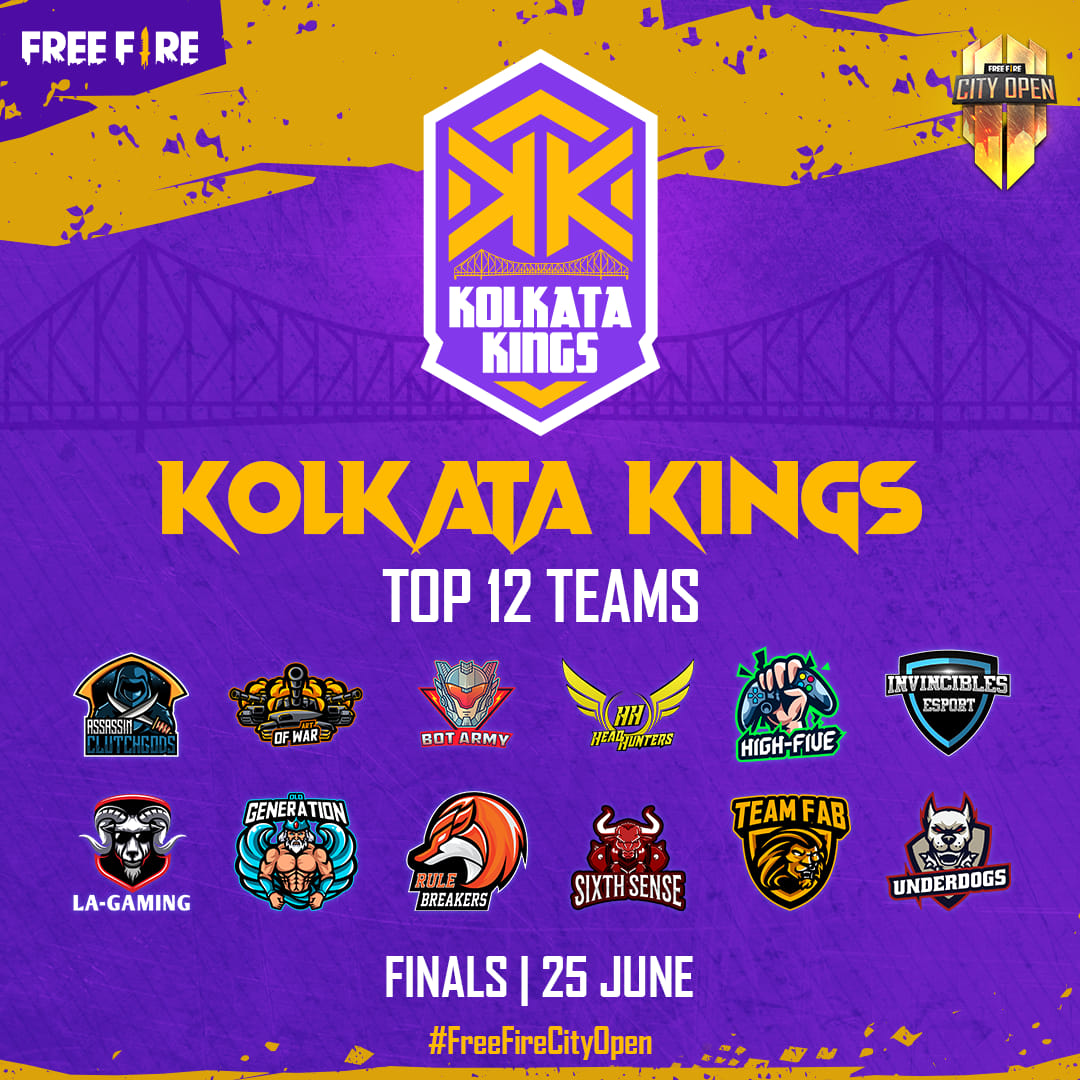 Free Fire City Open Kolkata Final Teams