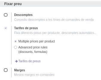 Odoo Compra Configuració llistes de preus