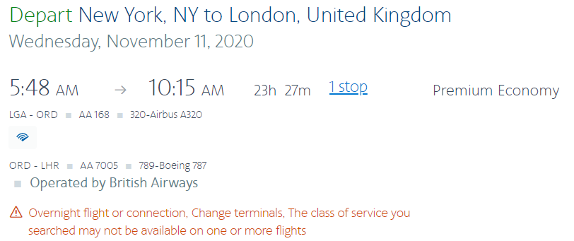 Image of flight ticket through American Airlines' website yet is operated by British Airways