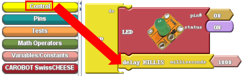 A diagram of the Control bin and the delay block in CarduBlock Edu.