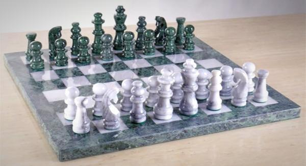 """The 16"""" Marble Green and White Chess Set"""