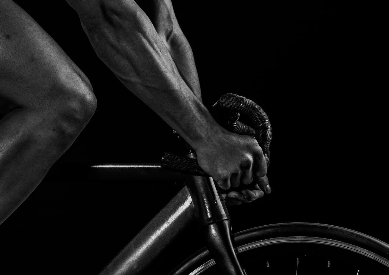 Man cycling on a bike.