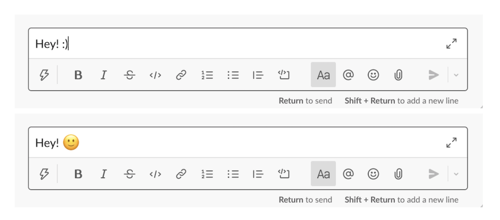 Screenshots of sample text with faces in Slack message box.