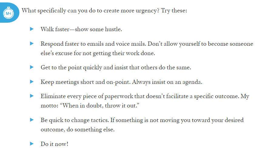 A screenshot that details methods someone can take to create urgency - headlines