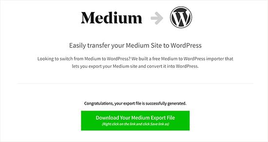 Tải xuống tệp xuất trung bình tương thích WordPress