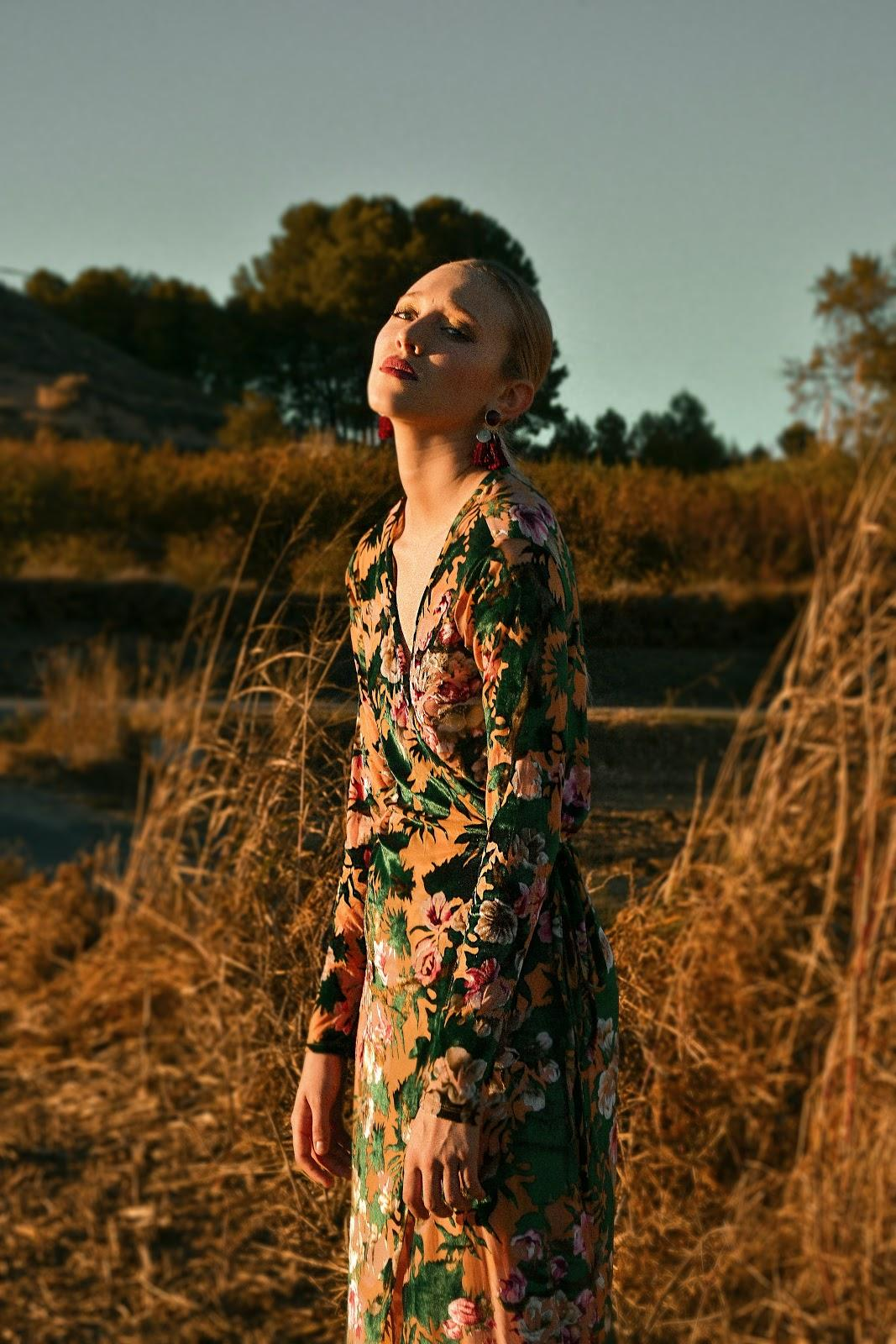 fashion photography of a girl in nature in a floral dress
