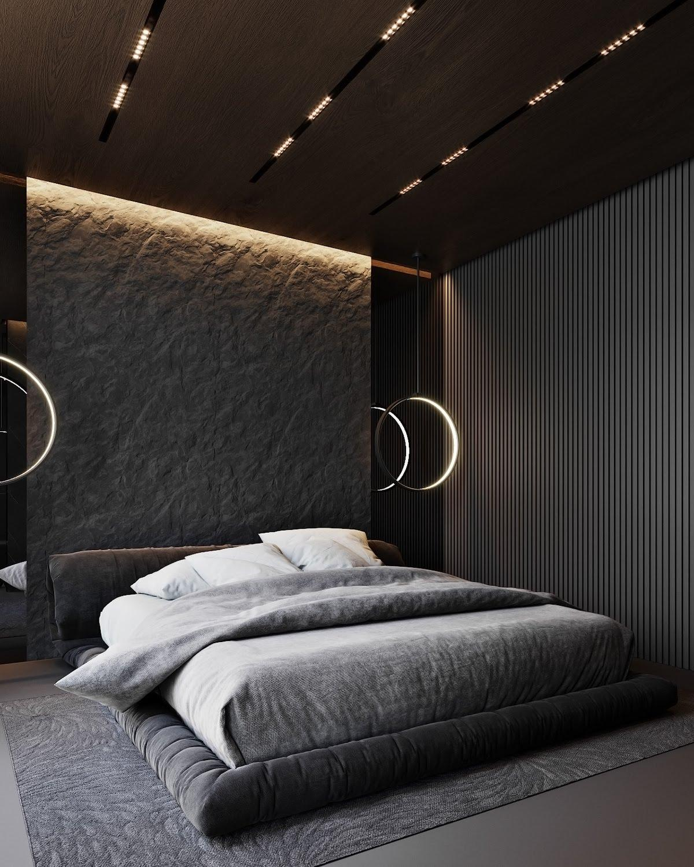 Thiết kế phòng ngủ màu xám đen cho nam giới