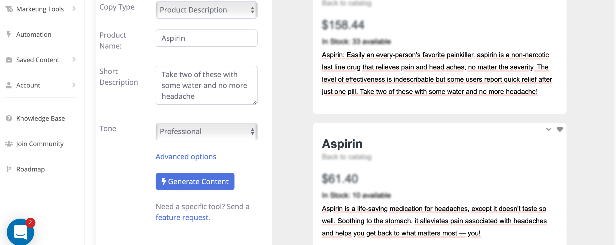 example from contentbot ai writing software for product descriptions