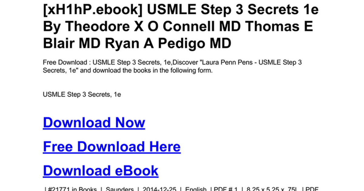 Usmle Step 3 Secrets 1e Doc Google Drive