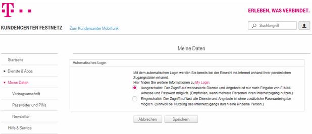 Kundenservice login telekom Persönliche Servicewelt