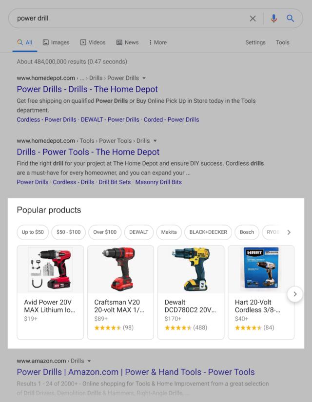 результаты товарной ленты в Google скриншот