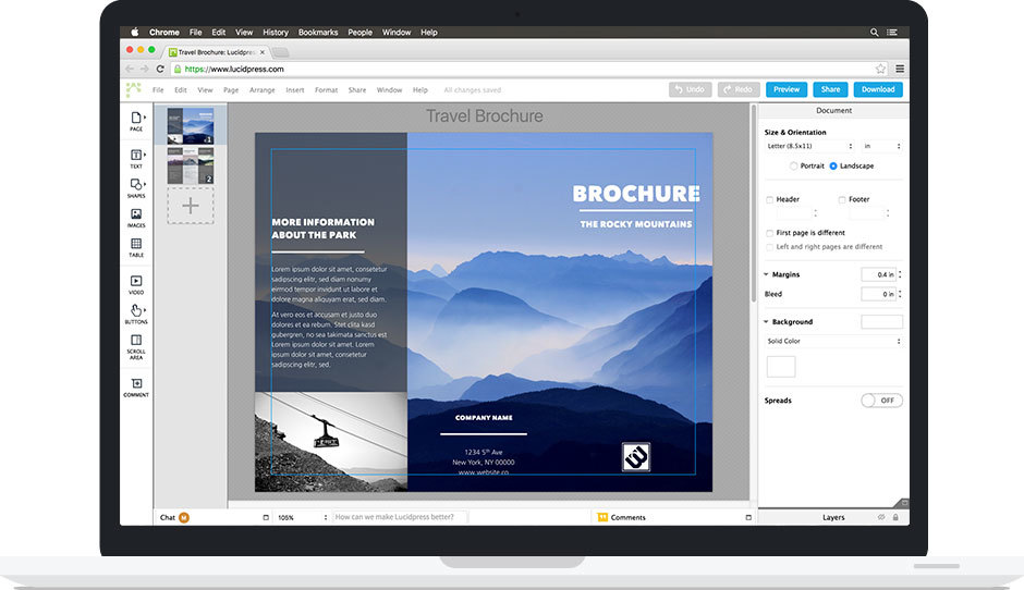 Lucidpress travel brochure and a look inside the front end of the tool