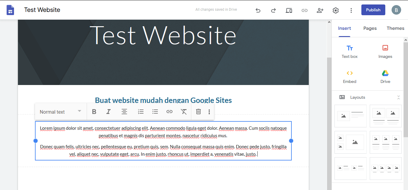 Menambahkan teks di body website di editor Google Sites