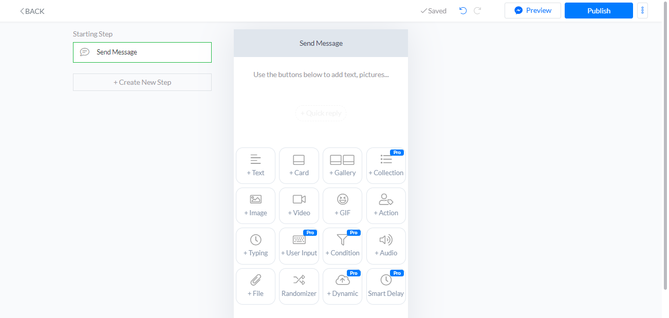 SilFer Bots basic chat flow builder