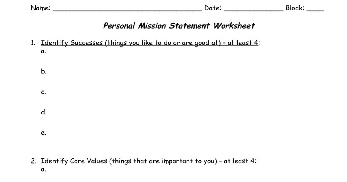 personal mission statement worksheet google docs