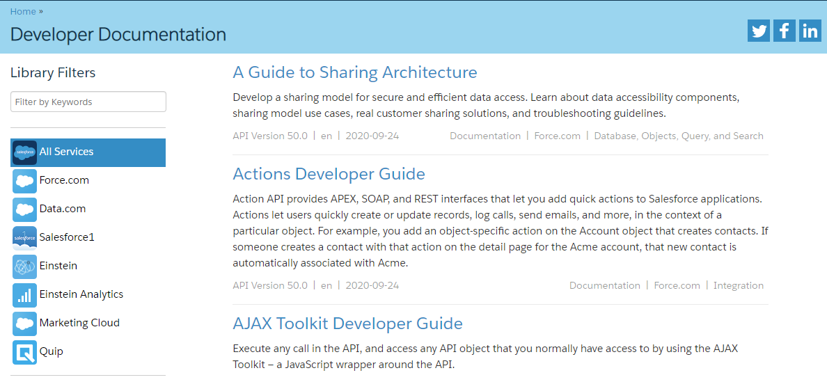 Salesforce developers screen shot