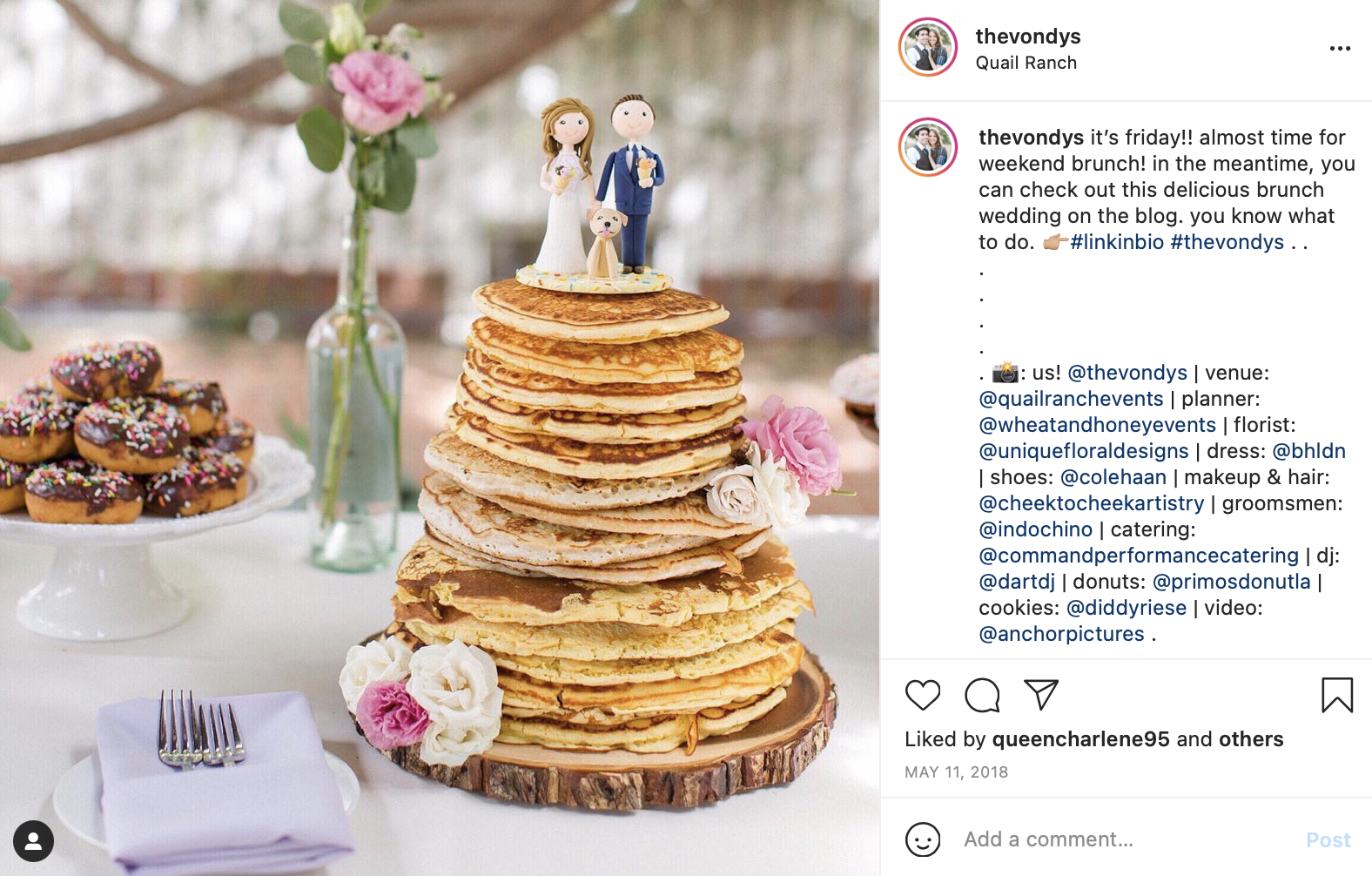 pancake cake for a brunch wedding reception