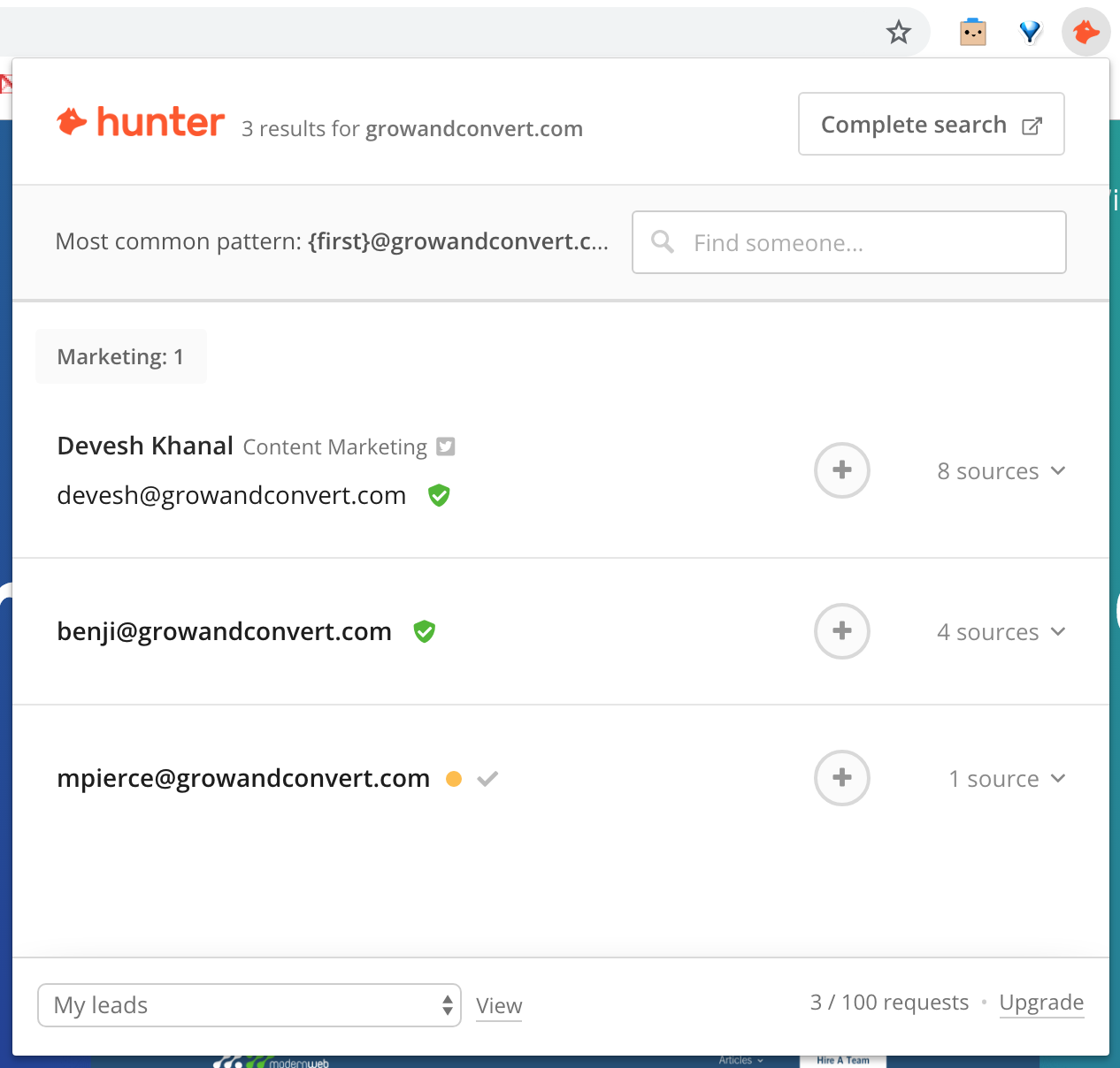 hunter app will hunt the internet email addresses for you.