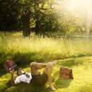 Man reading in grass