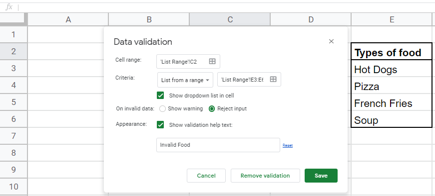 Shows the range from which the data validation box is pulling data from