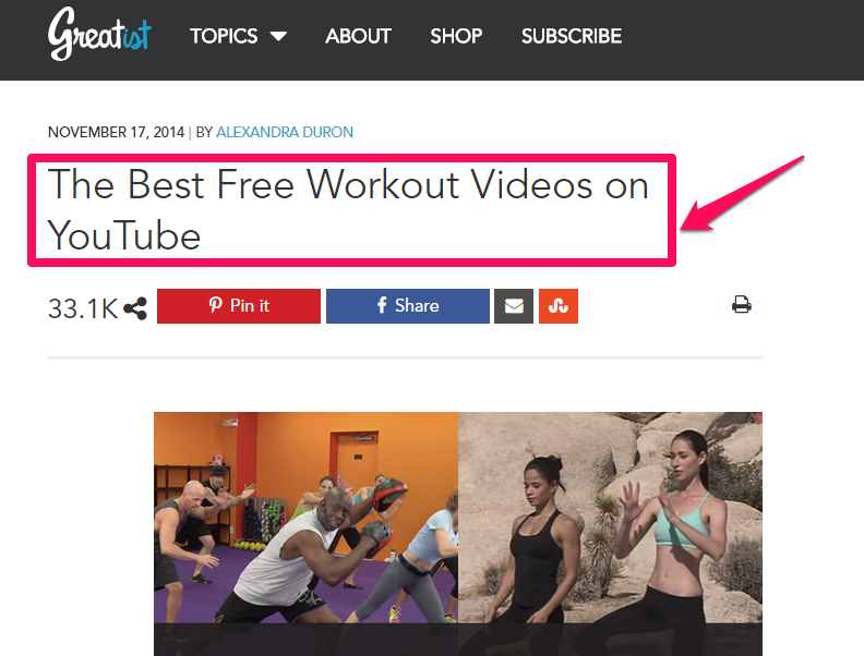 """A screenshot of a headline that reads """"the best free workout videos on youtube."""""""