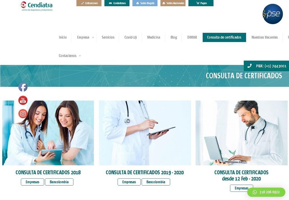 Consulta de certificados de aptitud laboral en Cendiatra