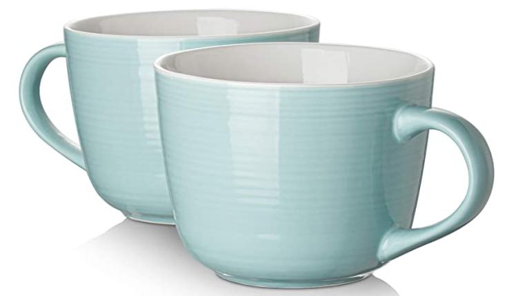 blue ceramic mugs