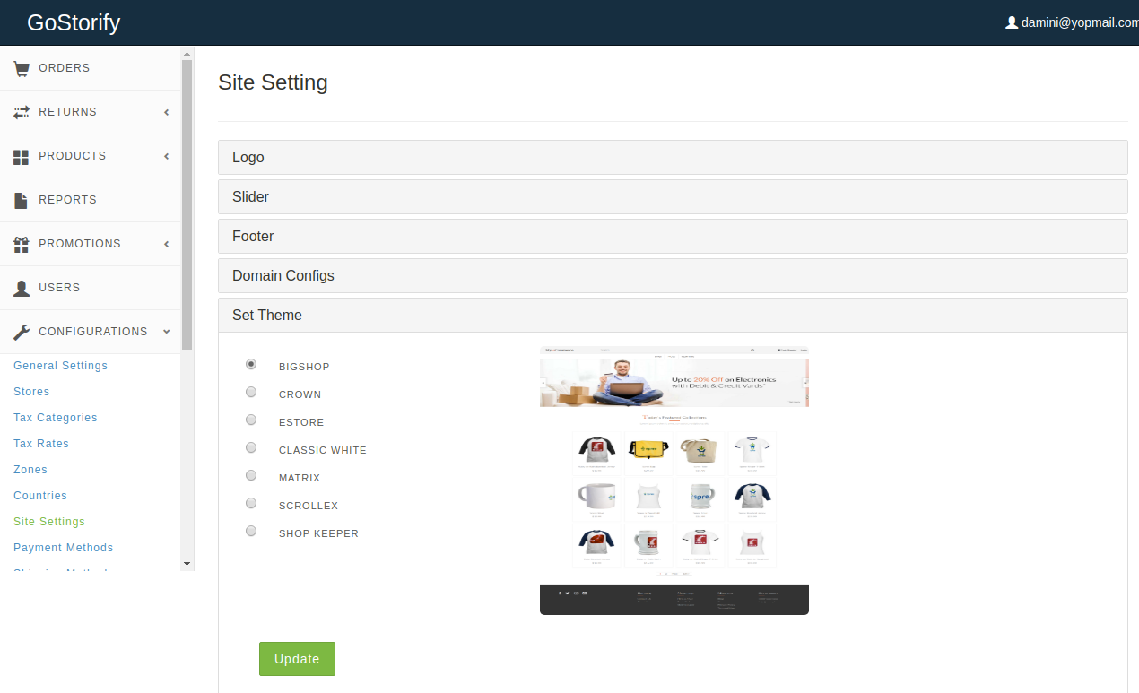 Gostorefy - Site Settings - Spree Commerce