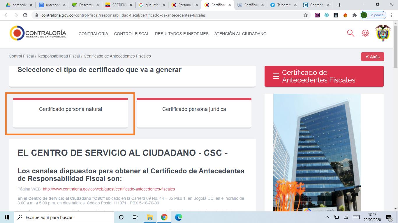 Descargar Certificado Contraloría como Persona Natural Paso 1