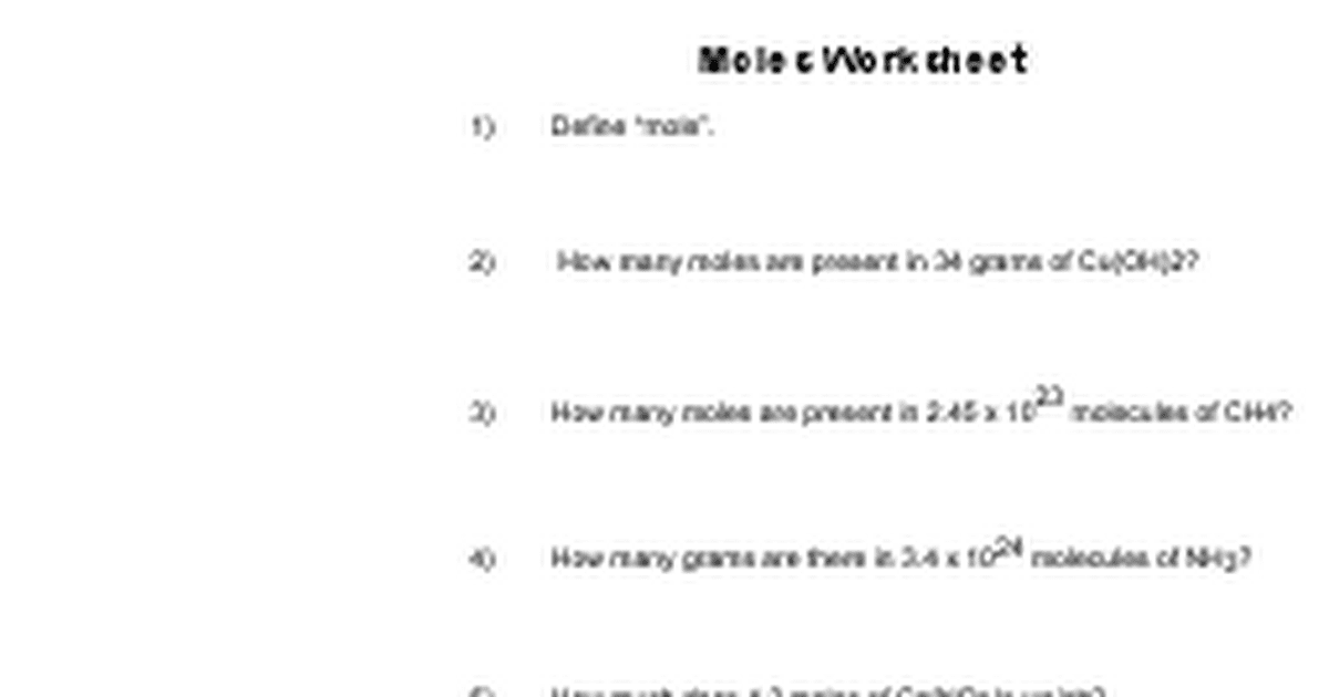 moles2doc Google Docs – Grams Moles Calculations Worksheet