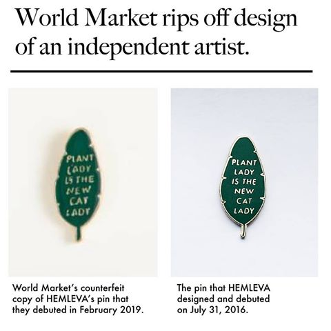 a pin design world market stole from a maker