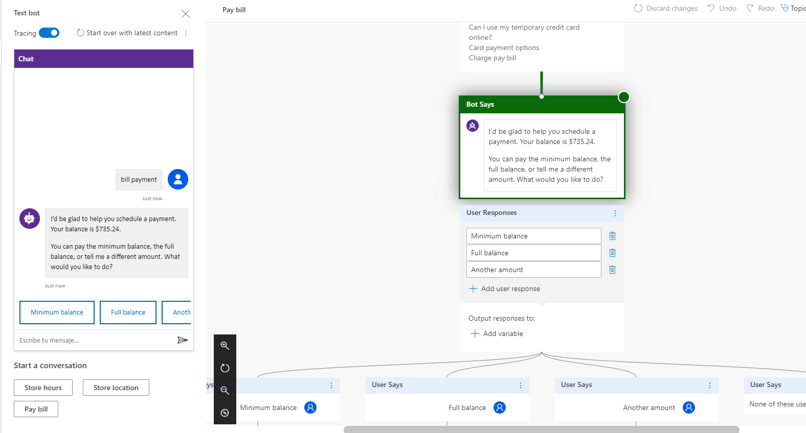 Dynamics 365: you can test the conversation thread of the bot