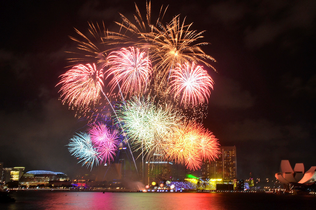 fireworks over singapore skyline