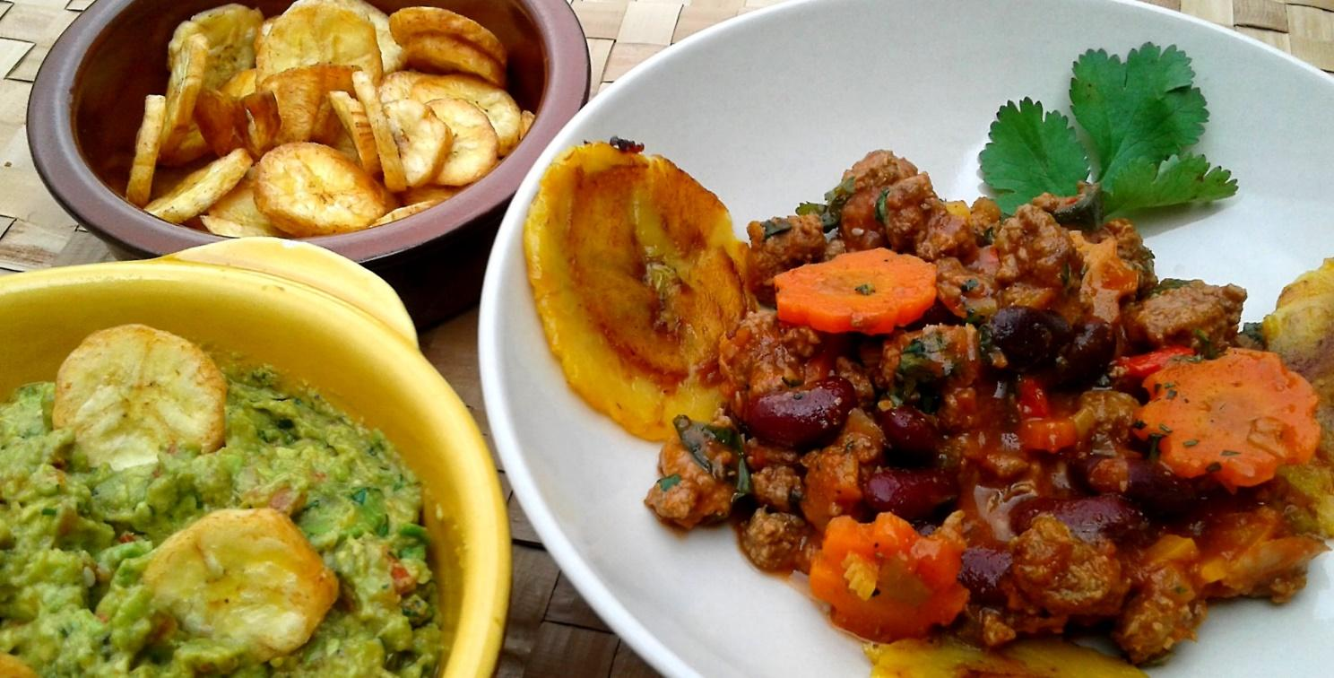 Chili con carne, riz coco, bananes plantain  cours de cuisine Grenoble, tropicuisine à dom