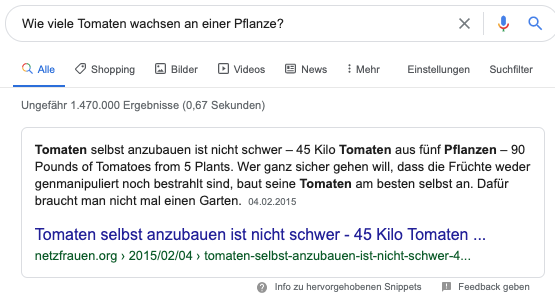 Erklärungs-Snippet als Featured Snippet