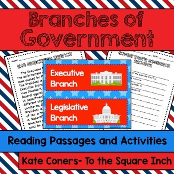 3 Branches of Government Reading Passages and Activities