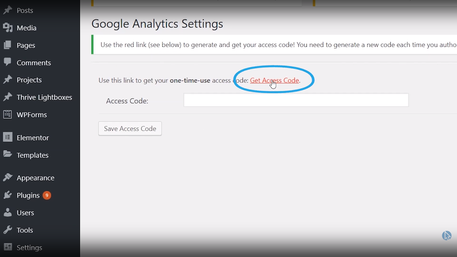 wordpress google analytics plugin get access code